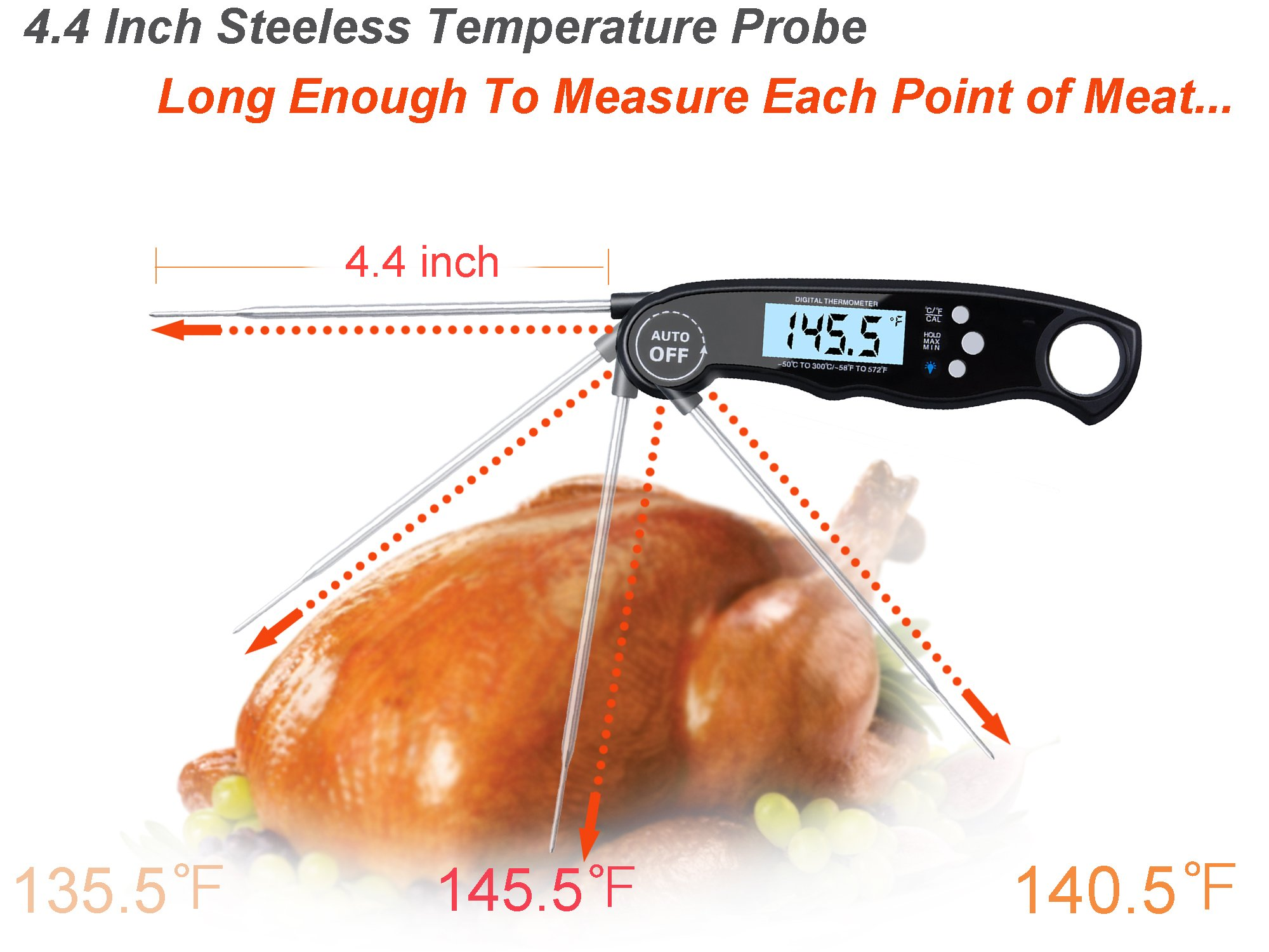 Digital Meat Thermometer-Waterproof Instant Read Thermometer with 4.4 Inches Long Probe,Auto Power On,Large LCD Screen,Backlight,Calibration,Super Fast Food Thermometer for Outdoor,Kitchen,Cooking,BBQ