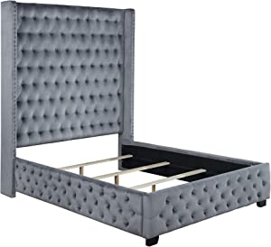 Coaster Home Furnishings Rocori Queen Wingback Tufted Bed Grey Panel