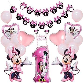 Decoraciones de 1er cumpleaños de Minnie Mouse con Adorno de ...