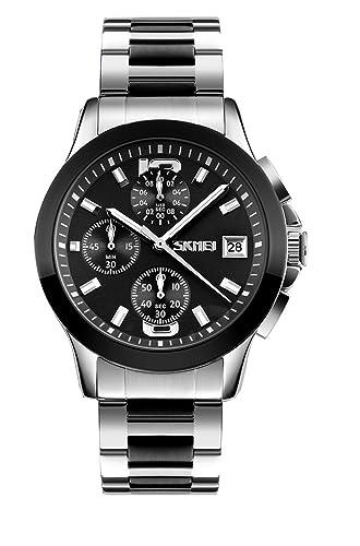 grande de cuarzo reloj de los hombres dos tonos negros con el metal de plata banda cronografía relojes elegantes con calendario: Amazon.es: Relojes