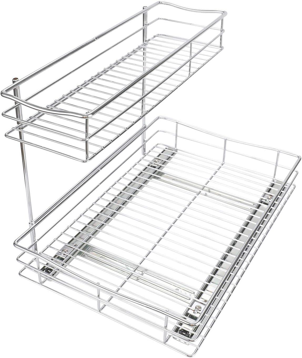Esylife Pull Out Kitchen Storage Basket 2 Tier Sliding Out Under Sink Cabinet Organiser Shelf Fit For 400mm Wide Cabinet Under Shelf Storage Home Kitchen Chefhouseresort Com Np