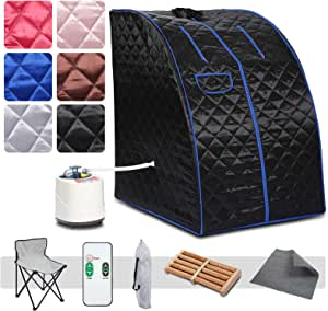 OKAKOPA 2L Folding Steam Sauna, Portable Therapeutic Sauna for Full Detox Relaxation One Person Sauna with Remote Control, Folding Chair, Timer, Foot Massage Roller Pad,Black
