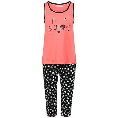 fdff727529 Ladies 100% Cotton Vest Top and Cropped Leg Pyjamas. Mermaid or Cat Nap  Design