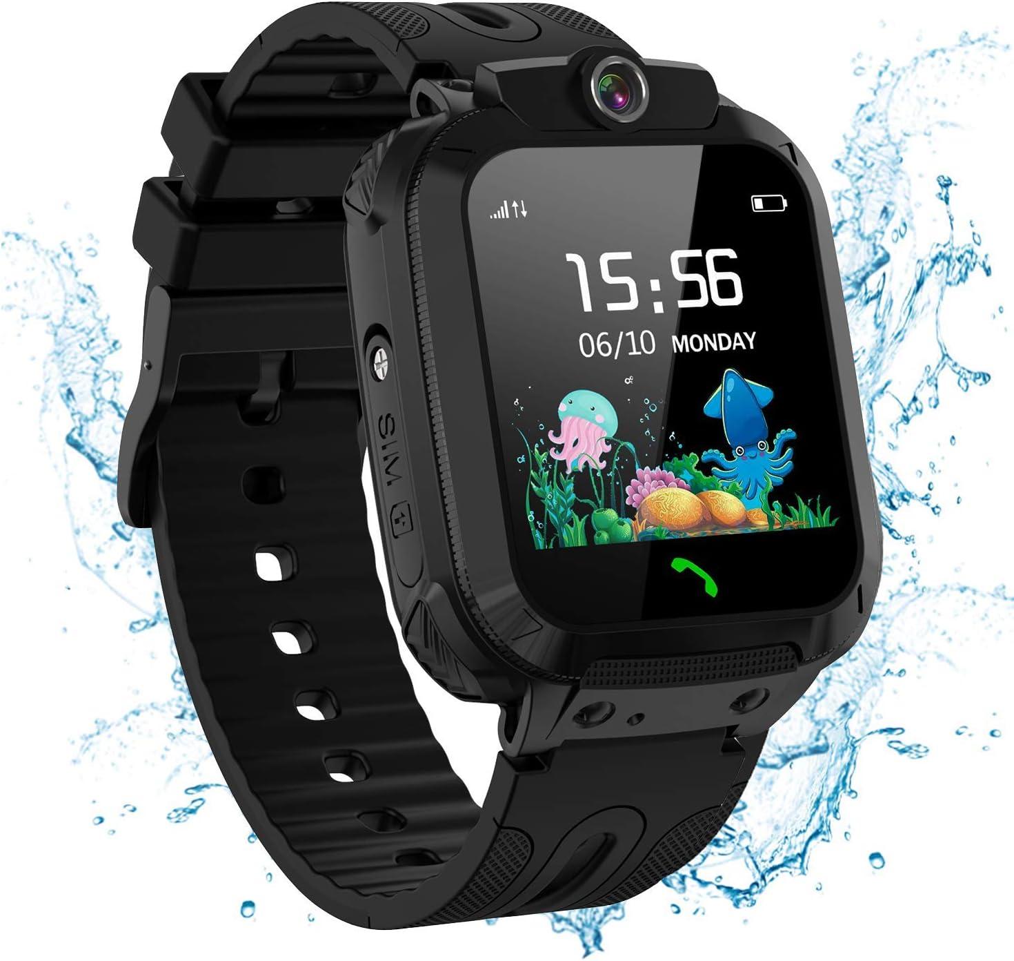jiangshu Reloj Inteligente niño, Smartwatch para Niños SOS Teléfono Música (Negro)