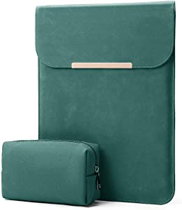 "KALIDI 13.3 inch Laptop Sleeve Case Faux Suede Leather for MacBook Air Pro Retina 2016-2020, for 13""-13.5"" Surface Pro 5 6 7 with Pouch (for 13.3 inches MacBook/Pro/Air, Dark Green)"
