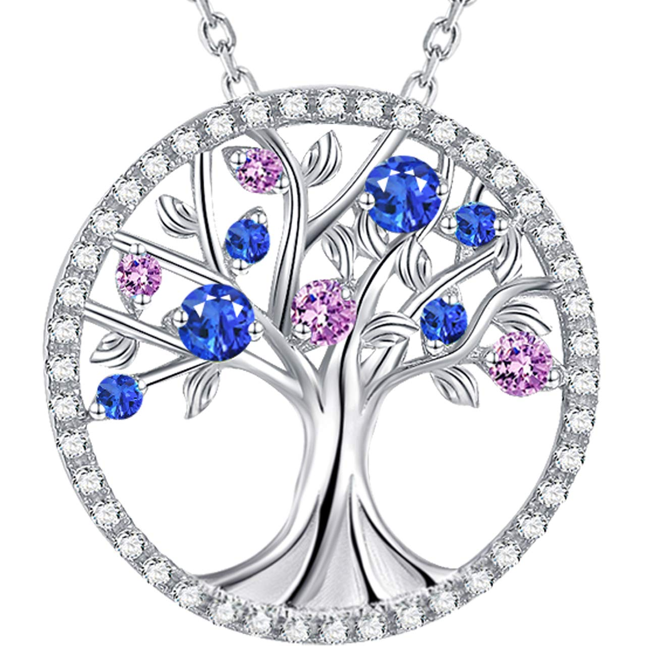 The Tree of Life September Birthstone Blue Sapphire and Pink Tourmaline Necklace Birthday Gift for Her Sterling Silver Fine Jewelry for Wife Lady Family
