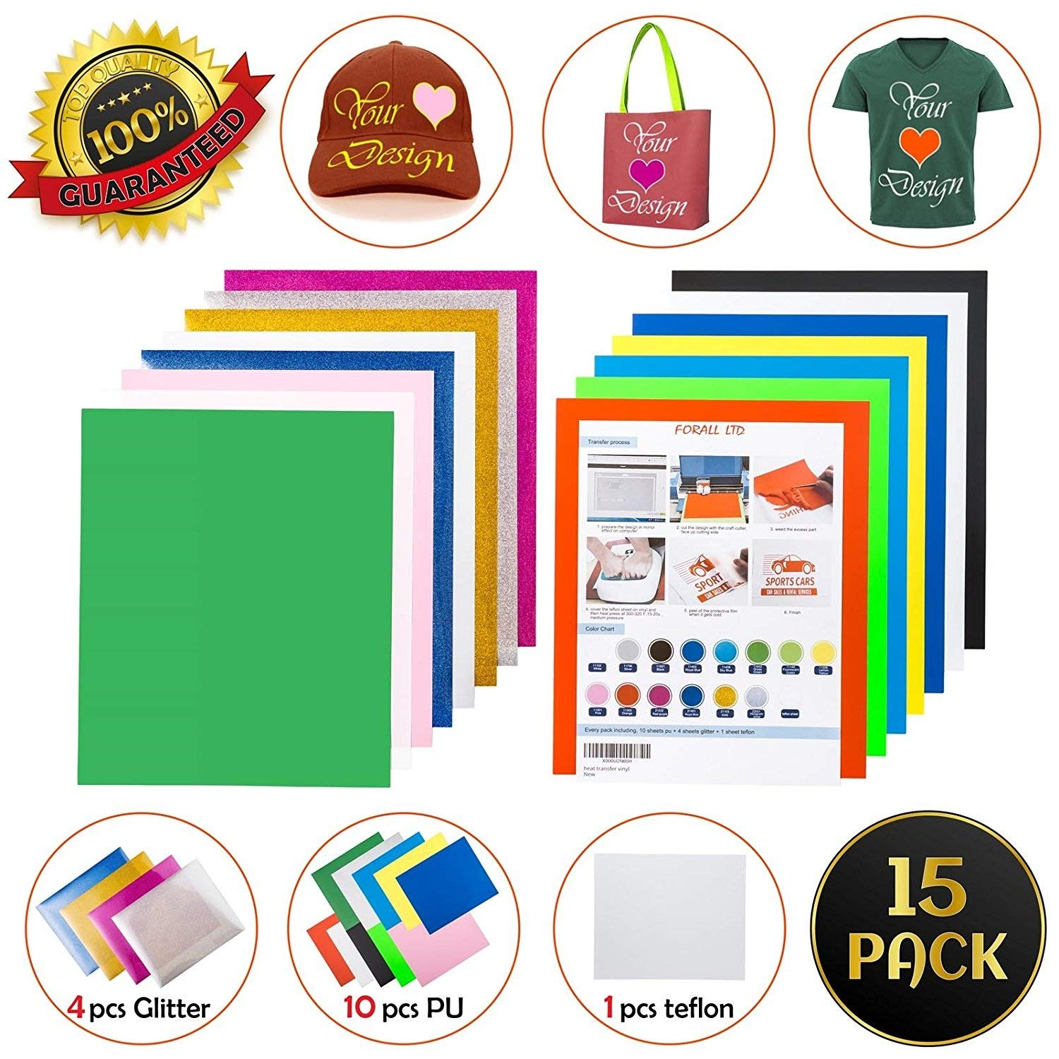 Heat Transfer Vinyl, Forall Ltd Pack of 10 Assorted Colors Easy Weed Iron on HTV with 1 Teflon & 4 Glitter Sheets for T-Shirts, Hats, Bags & Apparel Designs, Hobbies & Crafts, DIY Gift Set