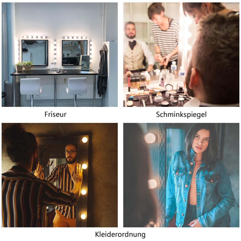 3 Arten Von Licht Modus 10 Helligkeit Einstellung Schminktisch Beleuchtung PEYOU LED Spiegelleuchte Hollywood Hollywood Spiegellampe F/üR Schminktisch//Schminktisch//Friseursalon Spiegel