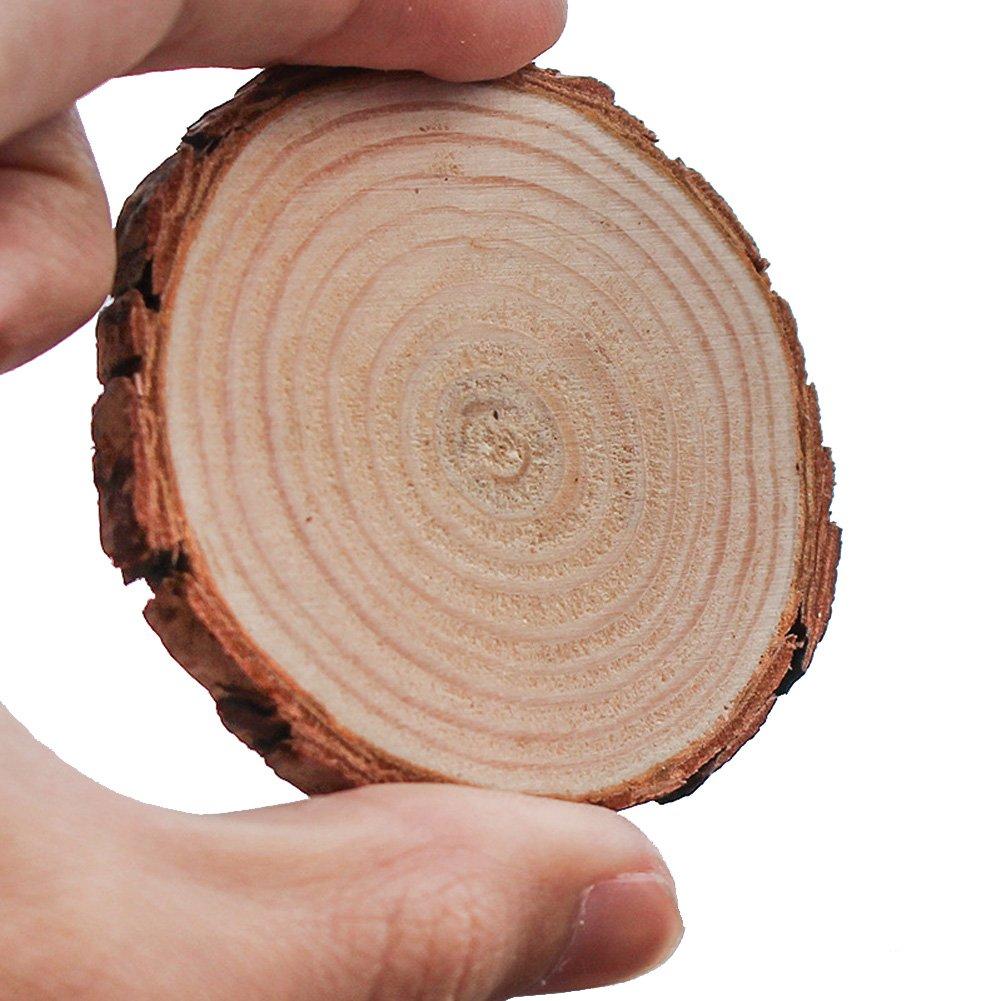 Gudelaa 100 Pcs Natural Wood Slices C/írculos para Manualidades DIY decoraci/ón de la Boda 1.5-3cm