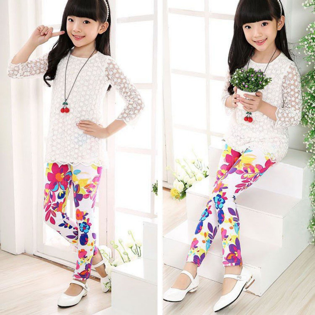 Weixinbuy 2 14 Years Girls Flower Feather Printed Comfy Top Adult Pants Xl Isi 10 Leggings Clothing