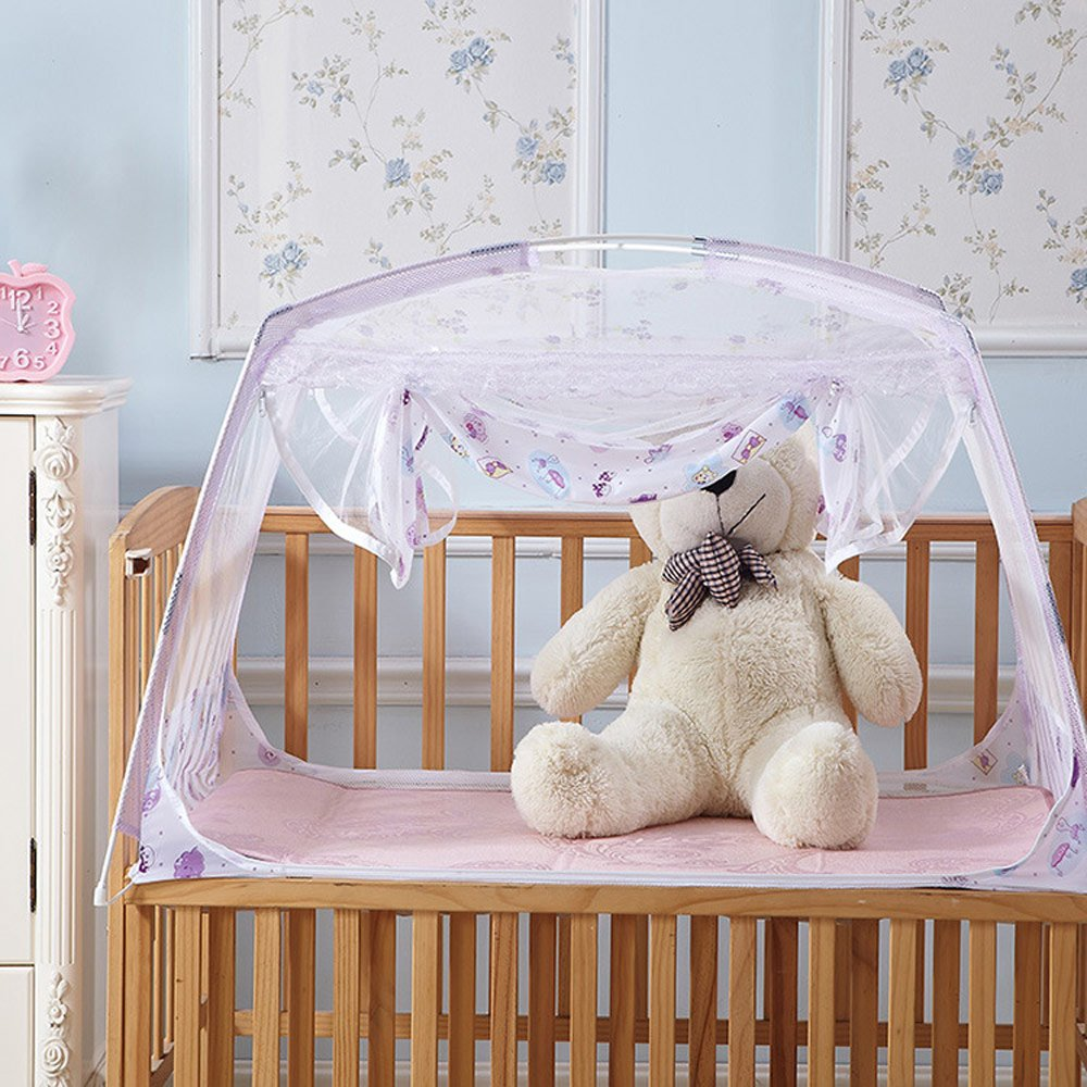 RuiHome Baby Crib Tent Safety Net Portable Summer Beach Playpen for Toddler (32x51x28'', Purple)