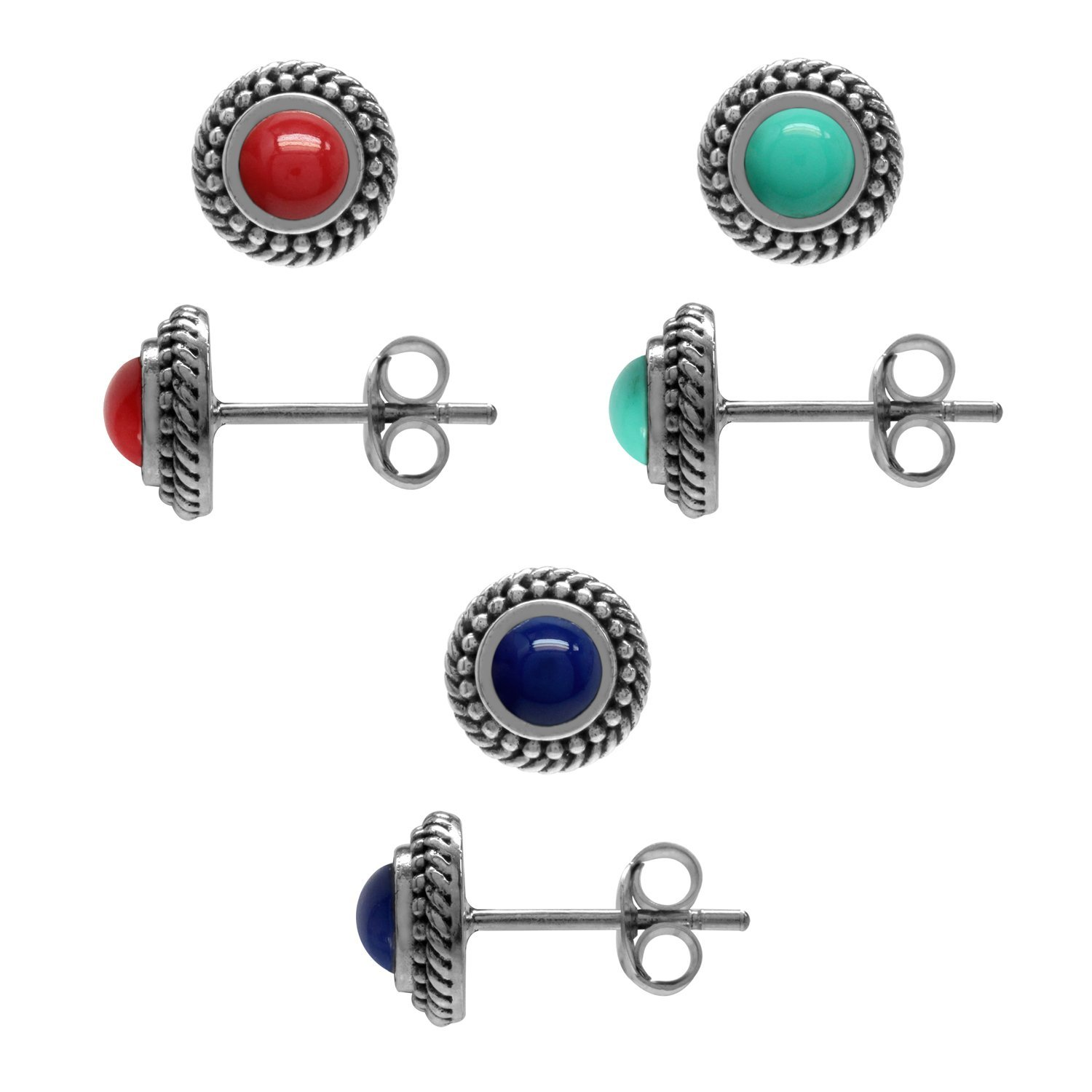 3-Pair Set Created Coral, Turquoise & Lapis 925 Sterling Silver Rope Balinese Style Stud Earrings