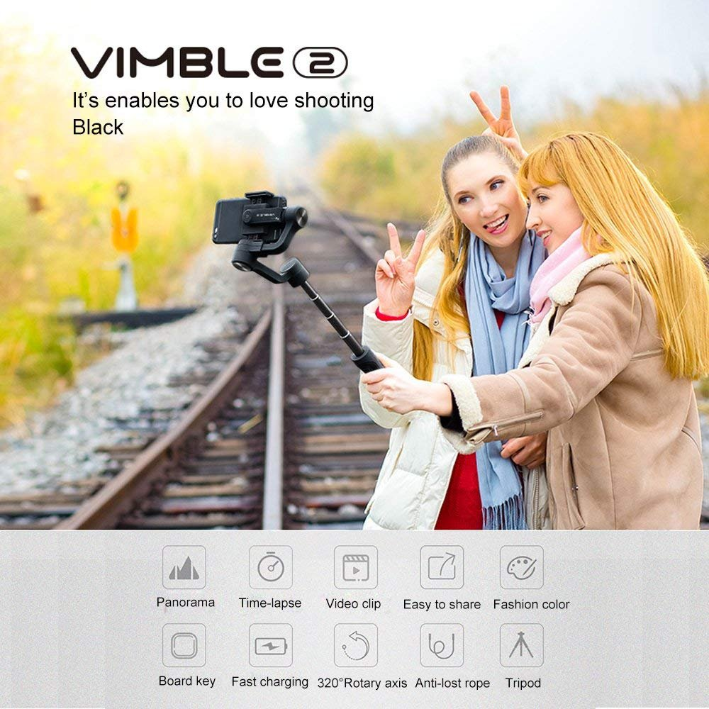 Feiyu Tech Vimble 2 Extendable Handheld 3-Axis Gimbal Stabilizer for Smartphone Included Tripod Stand and Phone Carry Bag Gray Color