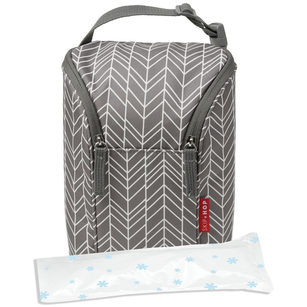 Skip Hop Insulated Breastmilk Cooler And Baby Bottle Bag Grab /& Go Double Brush Stroke