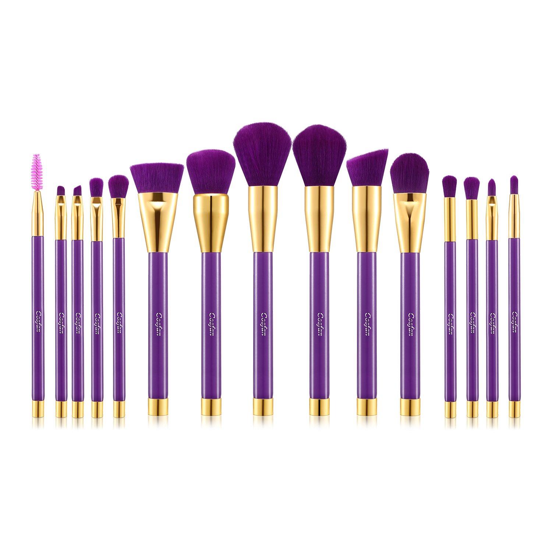 COSFAN Makeup Brushes Powder Foundation Concealer Eyeliner Makeup Brush Set Cosmetics Tool (15 PCS Gold Purple)