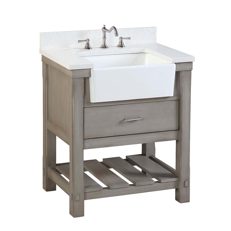 Charlotte 30-inch Bathroom Vanity (Quartz/Weathered Gray ...