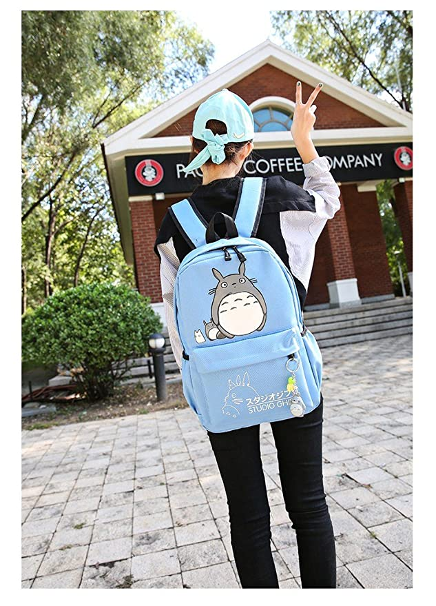 355d180a87 Amazon.com  SCOLL My Neighbor Totoro Students Backpacks Anime Cartoon  Shoulder Bags Teens Girls Schoolbag (Black)  Sports   Outdoors