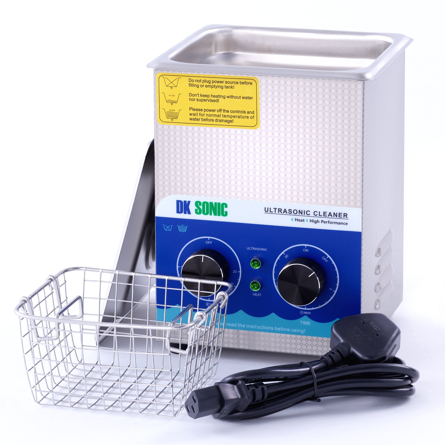 Commercial Ultrasonic Cleaner-DK SONIC 2L 60W Sonic Cleaner with Heater Basket for Jewelry, Ring, Eyeglasses, Denture, Watchband, Coins, Small Metal Parts, Circuit Board etc