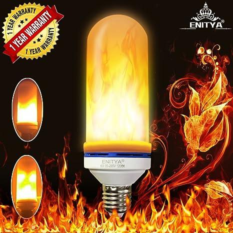 enitya LED llama luz bombilla, E26 LED parpadeo llama bombillas, 105pcs 2835 LED perlas
