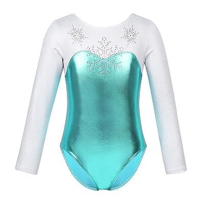 iiniim Girls Long Sleeve Metallic Splice Gymnastics Leotard Mermaid Fish Scales Athletic Dance Outfit Costumes: Clothing