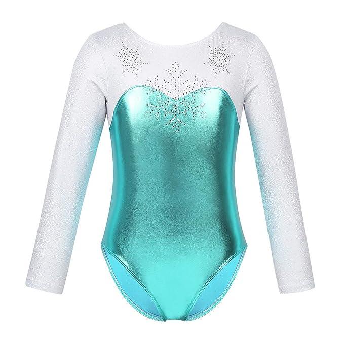 ranrann Maillot de Ballet Gimnasia Rítmica para Niña Body Metálico ...
