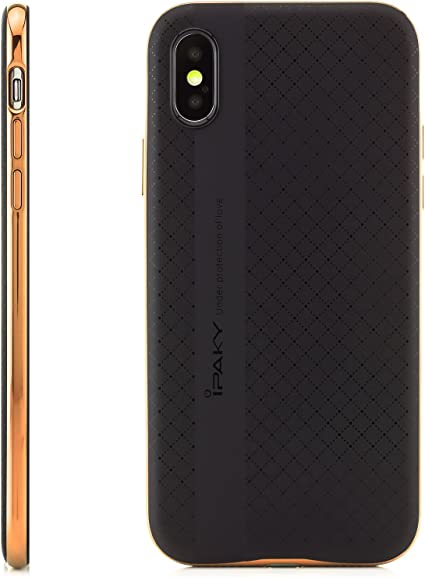 iPaky Custodia iPhone X Cover Silicone [Hybrid] con Tecnologia a Cuscino d'aria e Guscio di Protezione Telaio, Nero-Oro