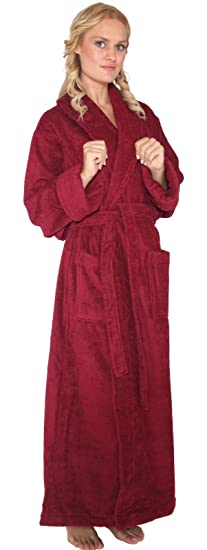 d3bfe5c702 Arus Women s Optimal Style Full Length Thick Shawl Collar Turkish Bathrobe  Burgundy ...
