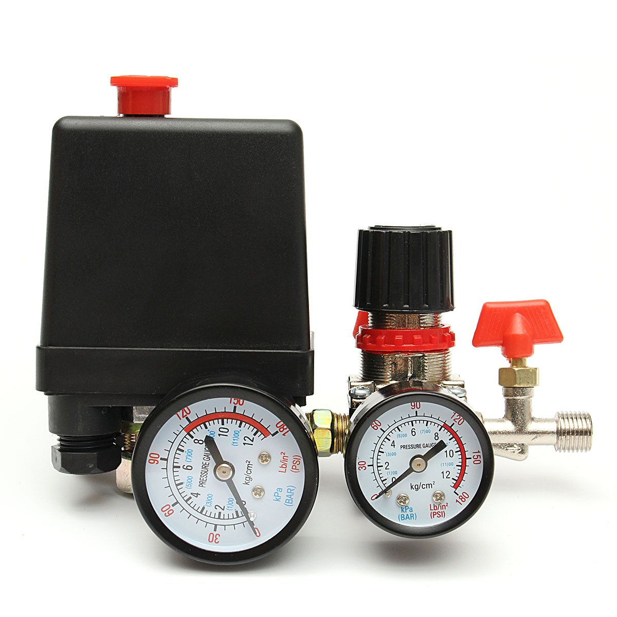 MASUNN 125PSI Air Compressor Pressure Valve Switch Control Manifold Regulator Gauges