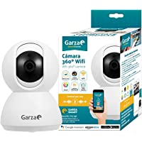 Garza Smarthome - Camara vigilancia IP WiFi 360º Compatible con Dispositivos Alexa con Pantalla y Google Chromecast. Cámara Smart de Alta definición 720p, micrófono Integrado y visión Nocturna