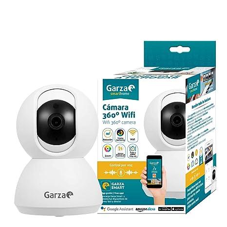 Garza Smarthome - Cámara IP WiFi Inteligente 360, visión Nocturna, HD, iOS, Android, Alexa, Google