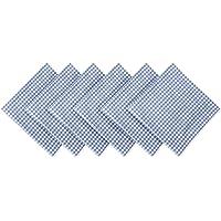 Abiha store South Cotton Check Napkin (White and Blue) - Set of 6