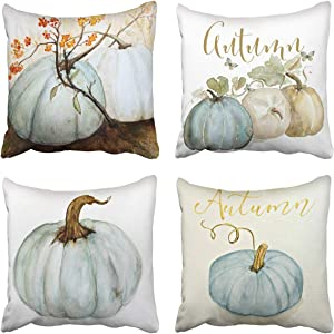 Tarolo Set of 4 Decorative Throw Pillow Case Cover Autumn Pumpkins White Blue Gray Cinderella Pumpkin Fall Watercolor Home Square Decor Pillow Cases Covers Cushion Sofa Size 18x18 Inches Double Sided