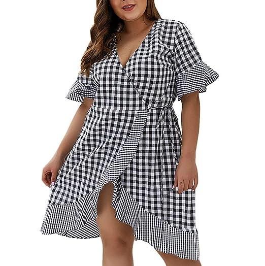 perfectCOCO Plus Size Dress Womens Loose Lattice Bandage ...