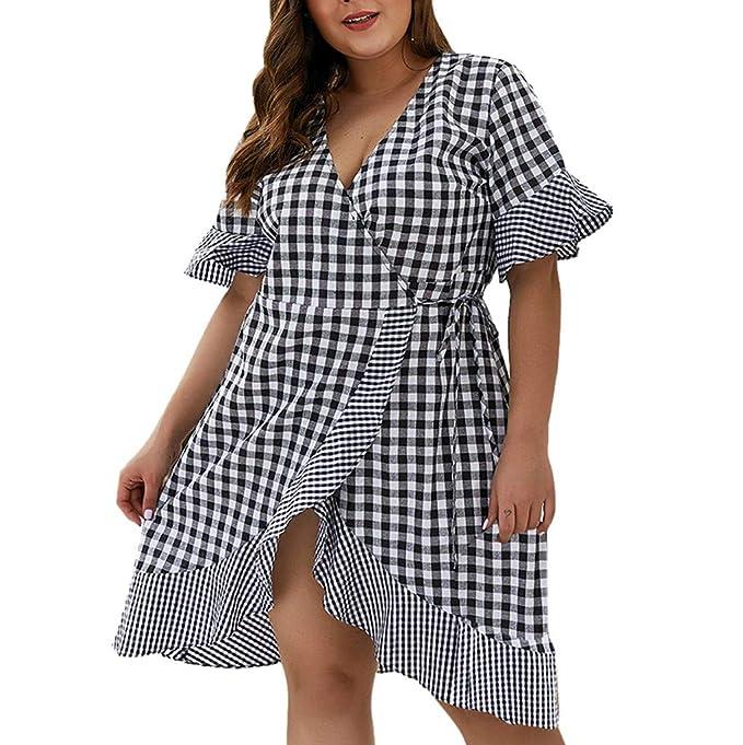 Amazon.com: perfectCOCO Plus Size Dress Womens Loose Lattice ...