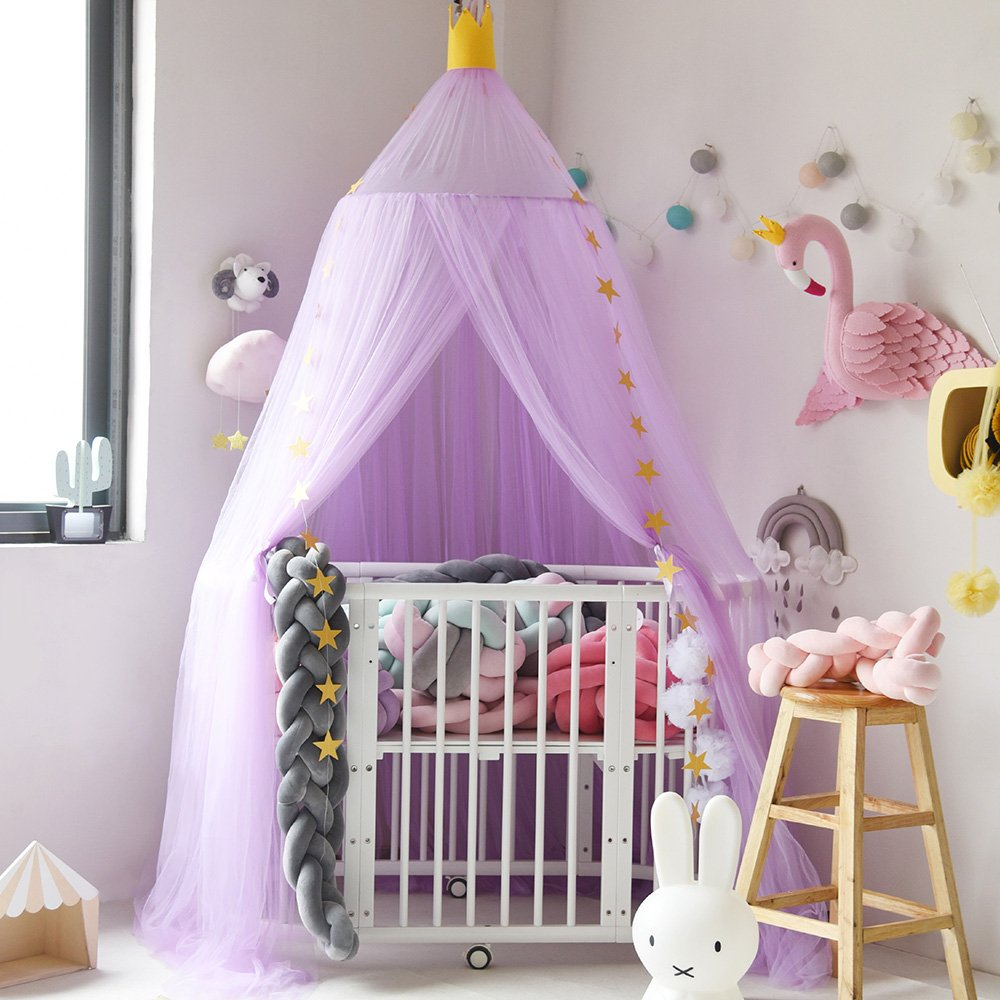Didihou Mosquito Net Bed Canopy Yarn Play Tent Bedding for Kids Playing Reading Dome Netting Curtains Baby Boys and Girls Games House (Purple)