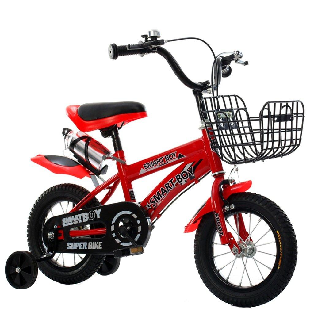 子供用自転車アウトドアマウンテンバイク2-3-6-8ボーイズとガールズ子供用玩具調節可能ハンドルバー/トレーニングホイール付きサドルウォーターボトルとホルダー-12/14/16/18インチ 14 inch Red B07C9R8MSN