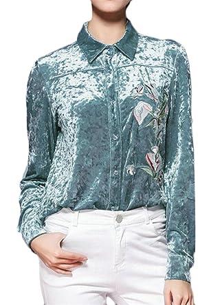 652bdebaa6dd Keaac Womens Stylish Velvet Lapel Long-Sleeved Embroidered Shirt Blue XS