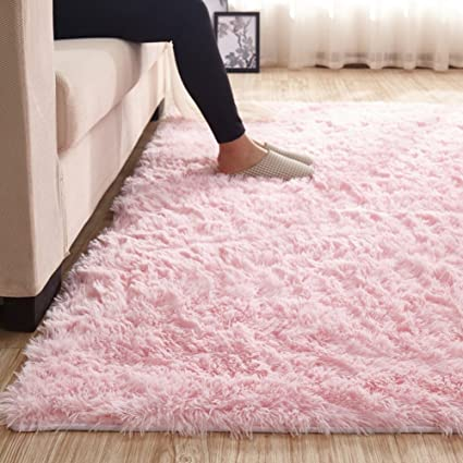 Amazon.com: MAXYOYO Pink Shaggy Rug for Girl Room Decor Kids Rugs ...