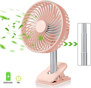 Personal Portable Small Desk Fan – Cooling Air Circulator for Home Bed Room Office warehouse greenhouse Travel, Quiet Mini Oscillating table fan,Clip Electric Box Fan with 2600 mAh USB Rechargeable battery.8 inch,Pink