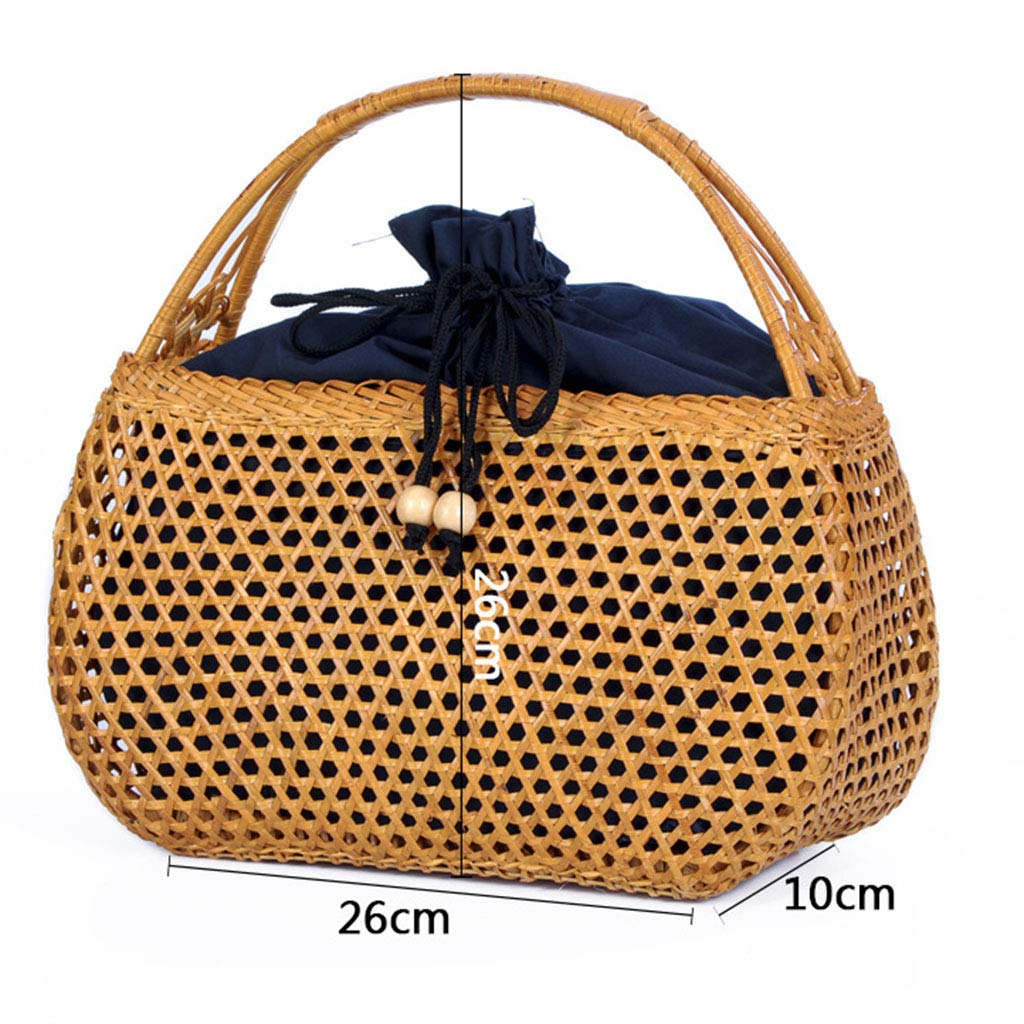 Women's Bag, Handbag - Rattan Woven Bag - Tea Ceremony Zero with Shopping Basket - Tea Set Storage Bag - Daily Retro Handbag by BHM (Image #2)