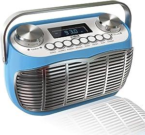Detroit, FM AM Radio Alarm Clock Bedside Mains Powered Or Battery FM Retro Radio with LCD Display Clock Radio (Blue)