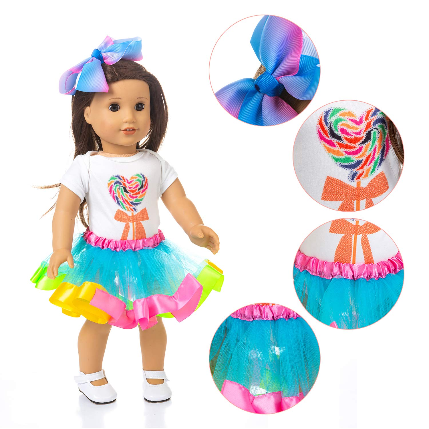 Ecore Fun Matching Girl /& Doll Dresses Clothes Outfits for 4-9 Years Girls and American 18 Girl Doll