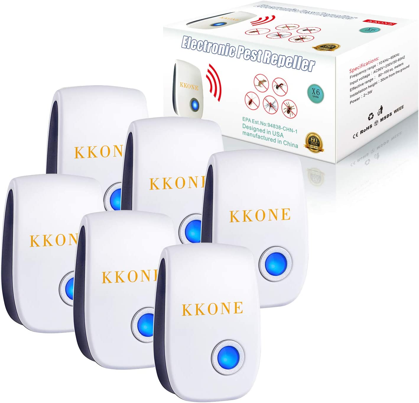 KKONE Ultrasonic Pest Repeller 6 Packs, 2020 Upgraded Pest Control Reject Devices Electronic Plug in Repellent Defender Home Indoor for Rat Mosquito Mice Spider Ant Roaches Bugs Flea Insect