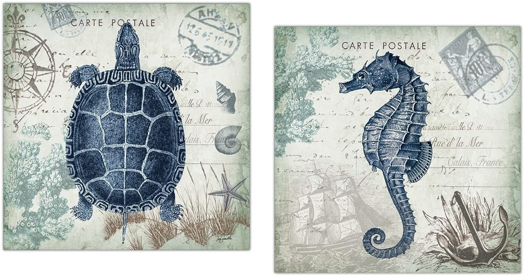 Nautical Seaside Blue Carte Postale Seahorse and Turtle Set by Tre Sorelle Studios; Two 12x12in Unframed Poster Prints