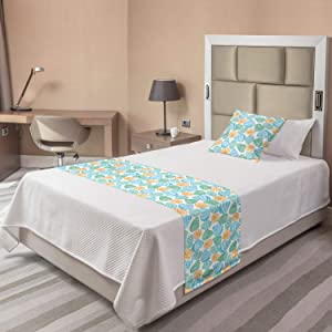 Ambesonne Seashells Bed Runner Set, Colorful Nautical Shells Ocean Elements Seascape Coastal Items, Decorative Bedding Scarf and a Pillow Sham for Hotels Homes, Twin, Sky Blue