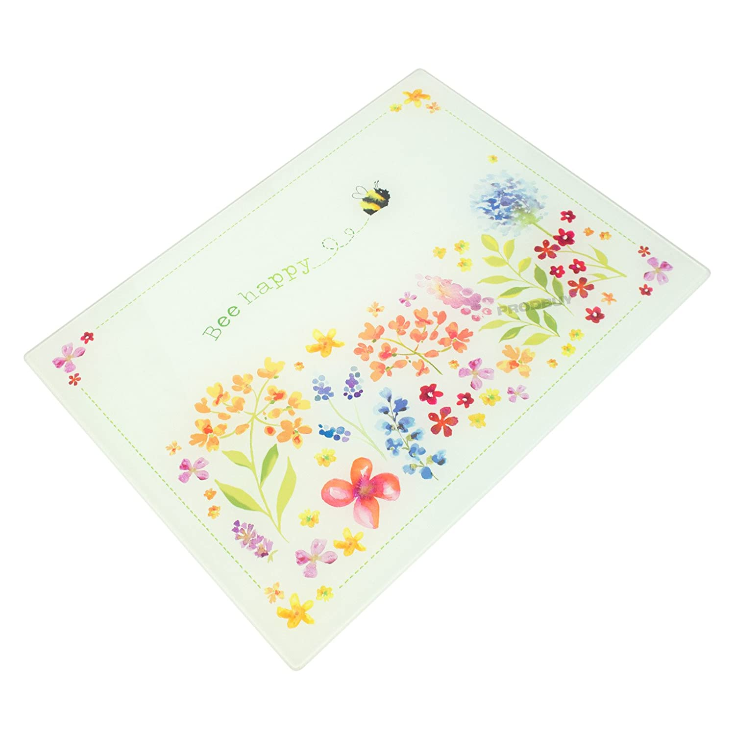 40cm x 30cm Glass Worktop Saver - Bee Floral ProdBuy Limited
