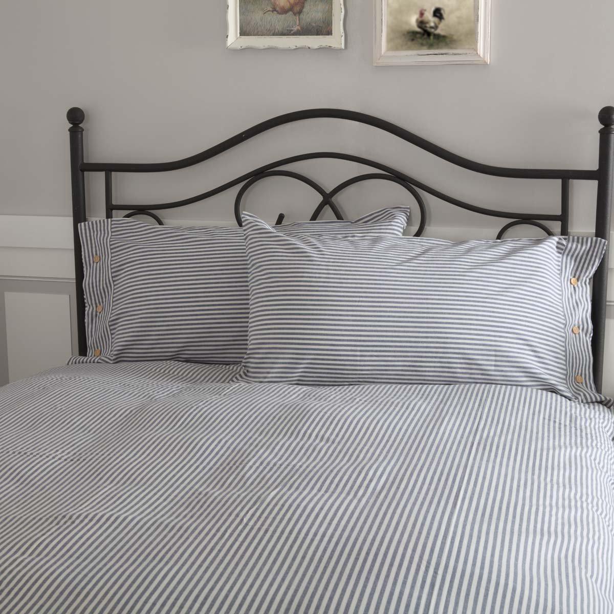 Piper Classics Farmhouse Ticking Stripe Blue King Sham, 21'' x 37'', Bed Pillow Cover