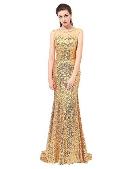 Vickyben long Sequins Mermaid Prom Dress Bridesmaid Gown Evening Dress Party Dress