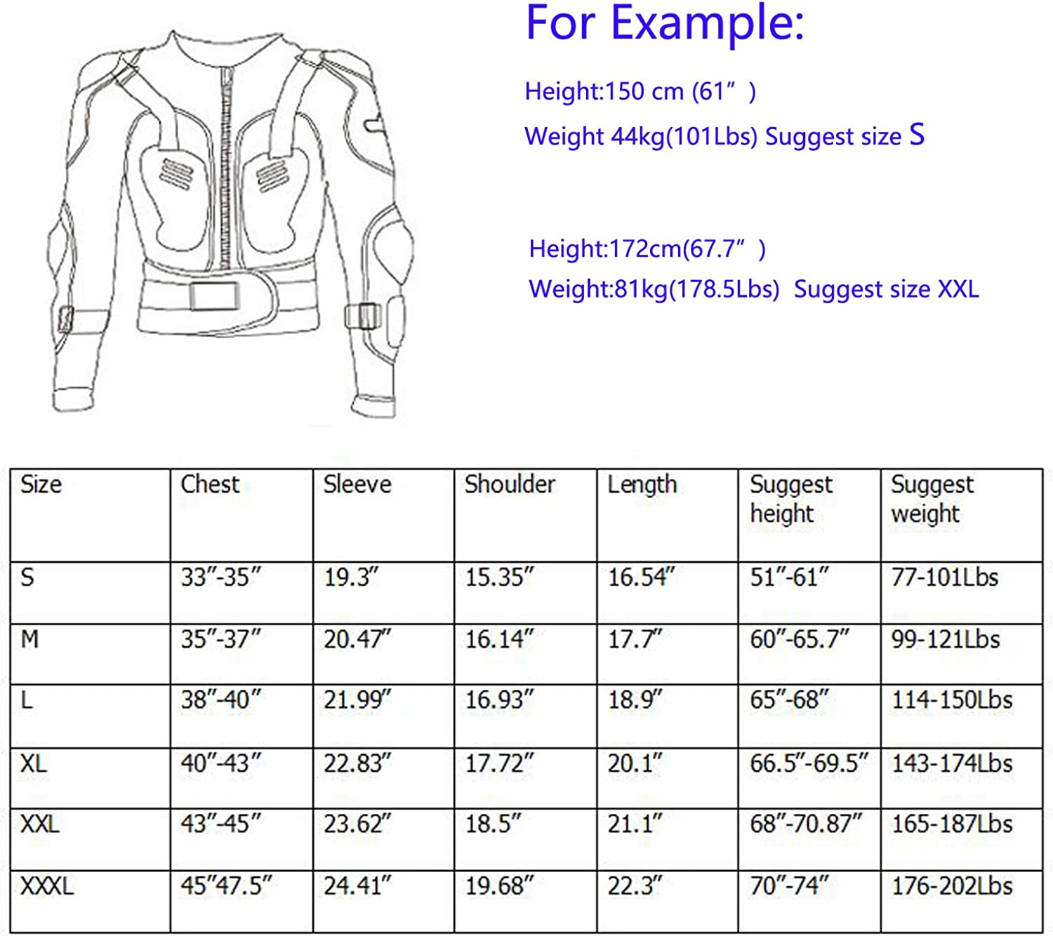 REOMOTO Motorcycle Body Armor Jacket Motocross Racing Dirtbike Armor Protector Both for Kids Adults