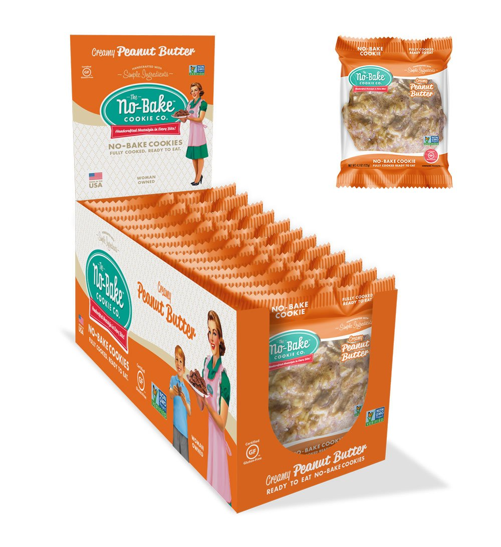 The No-Bake Cookie Co, Gluten Free Cookies, Creamy Peanut Butter, 12 Pack Box